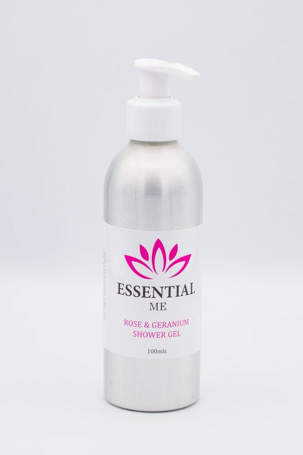 essential me rose and geranium shower gel